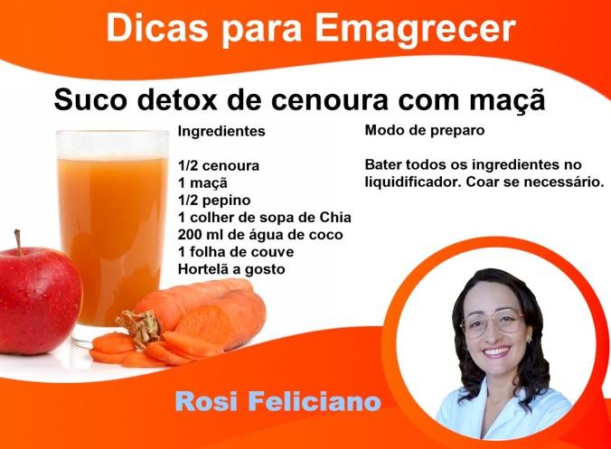 suco detox maçã com cenoura Rosi Feliciano